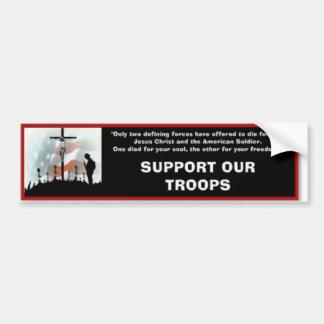 Apoye a nuestras tropas pegatina de parachoque