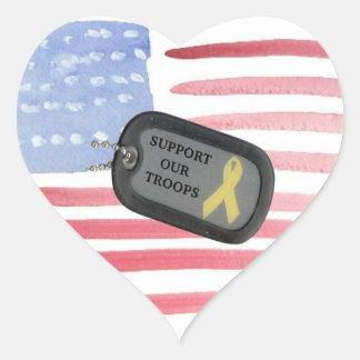 Apoye a nuestras tropas pegatina en forma de corazón