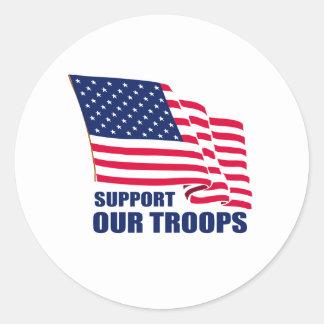 Apoye a nuestras tropas pegatina redonda