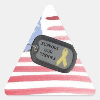 Apoye a nuestras tropas pegatina triangular