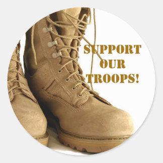 ¡apoye a nuestras tropas! pegatinas pegatina redonda