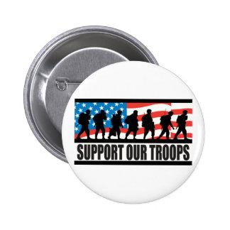 Apoye a nuestras tropas pin redondo de 2 pulgadas