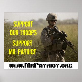 Apoye a nuestras tropas - Sr. Patriot Poster de la