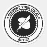Apoye a su artista local etiquetas redondas