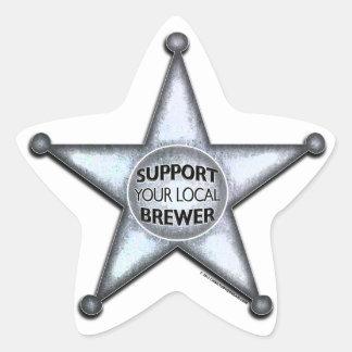 Apoye a su cervecero local pegatina en forma de estrella