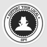 Apoye a su espía local etiqueta redonda