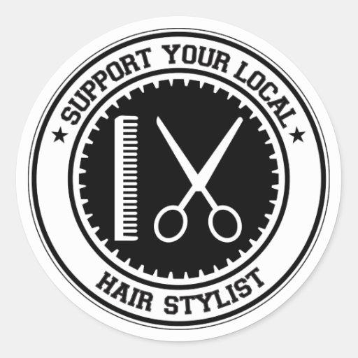 Apoye a su estilista local pegatina redonda