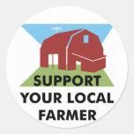Apoye a su granjero local etiqueta redonda