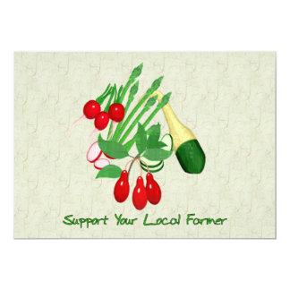 Apoye a su granjero local invitación 12,7 x 17,8 cm