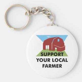 Apoye a su granjero local llavero redondo tipo pin