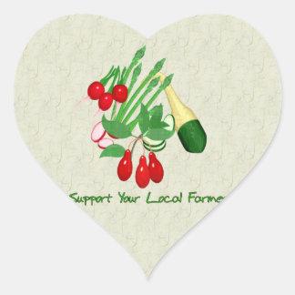 Apoye a su granjero local calcomanías de corazones personalizadas