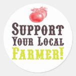 ¡Apoye a su granjero local! Pegatinas Etiquetas Redondas