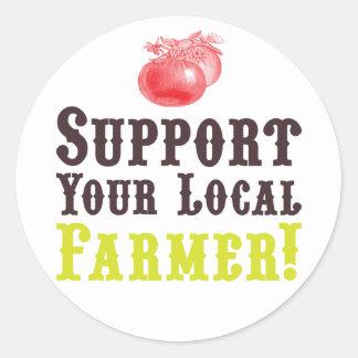 ¡Apoye a su granjero local! Pegatinas Pegatina Redonda
