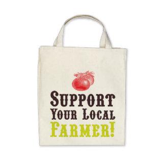 ¡Apoye a su granjero local Tote orgánico Bolsa Lienzo