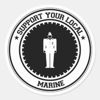 Apoye a su infante de marina local pegatina redonda
