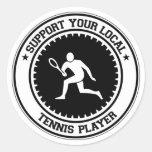Apoye a su jugador de tenis local etiqueta redonda
