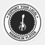 Apoye a su jugador local de la mandolina pegatinas redondas