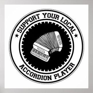 Apoye a su jugador local del acordeón poster