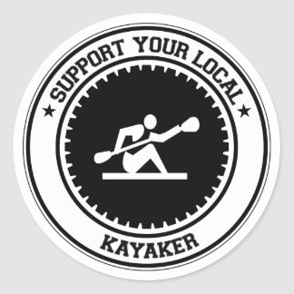Apoye a su Kayaker local Pegatina Redonda