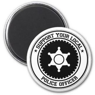 Apoye a su oficial de policía local imán redondo 5 cm