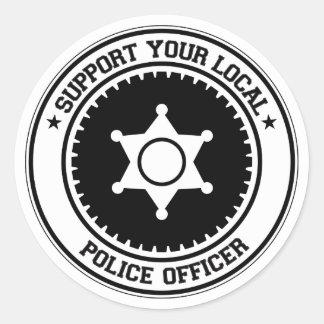 Apoye a su oficial de policía local etiquetas redondas