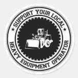 Apoye a su operador pesado local del equipo pegatina redonda