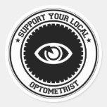 Apoye a su optometrista local pegatina redonda