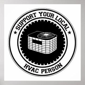 Apoye a su persona local de la HVAC Poster