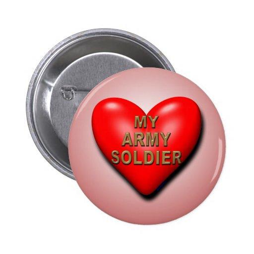 Apoye a su soldado pin redondo de 2 pulgadas