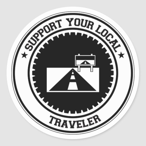 Apoye a su viajero local etiqueta redonda