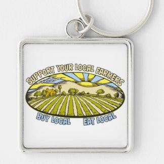Apoye a sus granjeros locales llavero cuadrado plateado
