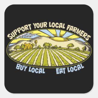Apoye a sus granjeros locales calcomanía cuadrada personalizada