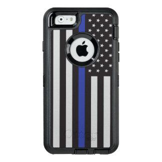 Apoye al americano fino de Blue Line de la policía Funda OtterBox Defender Para iPhone 6