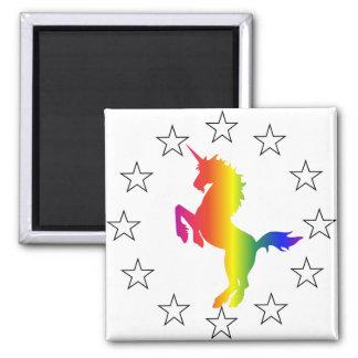 Apoye al fiesta del unicornio: Unicornios para el  Imán Cuadrado