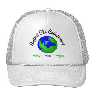 Apoye el ambiente reducen la reutilización recicla gorra