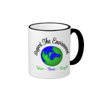 Apoye el ambiente reducen la reutilización recicla taza de café