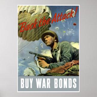 Apoye el ataque -- Compre enlaces de guerra -- Póster