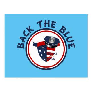 Apoye el escudo y el gorra azules de la policía tarjetas postales