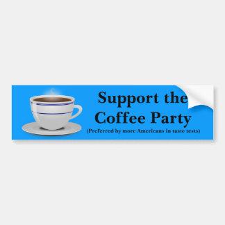 Apoye el fiesta del café etiqueta de parachoque