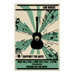 Apoye el poster de la música en directo de los art