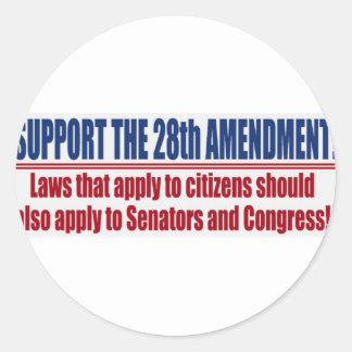 Apoye la 28va cuarta enmienda etiqueta redonda