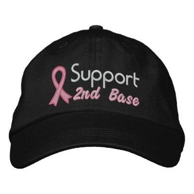 Apoye la 2da base - cáncer de pecho gorro bordado