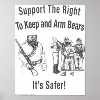 """""""Apoye la derecha de armar osos """" Póster"""