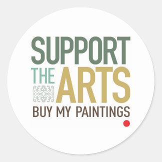 Apoye las pinturas de los artes etiquetas redondas
