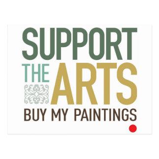 Apoye las pinturas de los artes tarjetas postales