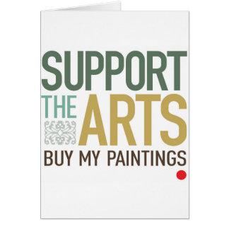 Apoye las pinturas de los artes tarjetón