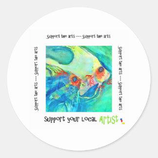 Apoye los artes pegatina redonda