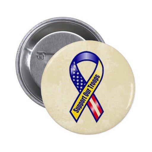 Apoye nuestra cinta amarilla de las tropas pin