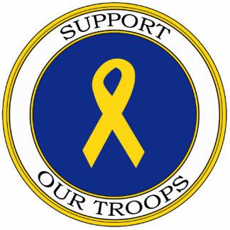 Apoye nuestra cinta de las tropas llavero fotográfico