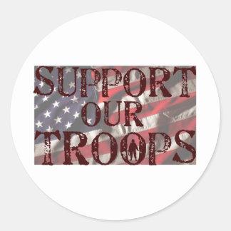 apoye nuestra copia de las tropas pegatina redonda